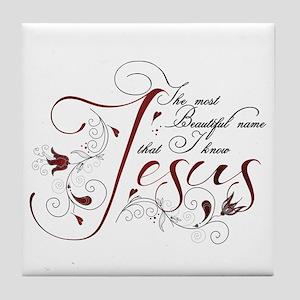 Beautiful name of Jesus Tile Coaster