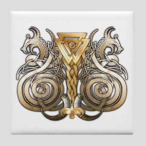 Norse Valknut Dragons Tile Coaster