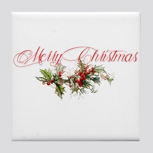 Merry Christmas Holly and berries Tile Coaster