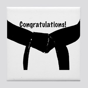 Black Belt Congratulations Tile Coaster