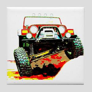 Jeep rock crawling Tile Coaster