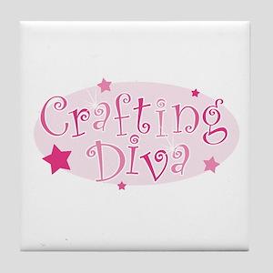 """Crafting Diva"" [pink] Tile Coaster"