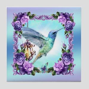 Watercolor Hummingbird, Rose,tile Coaster