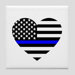 Thin Blue Line Love Tile Coaster
