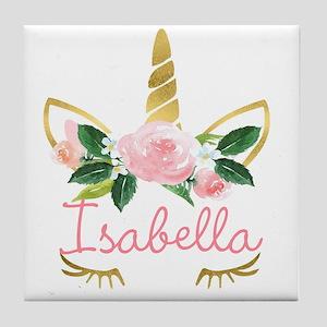 Sleeping Unicorn Personalize Tile Coaster