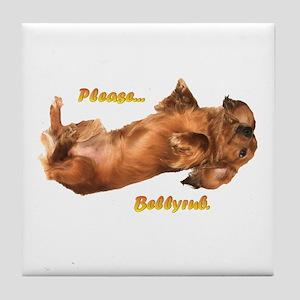 Bellyrub Doxie Tile Coaster