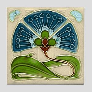 Art Nouveau Fan Flower Tile Coaster