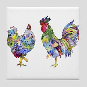 Rooster & Hen Tile Coaster