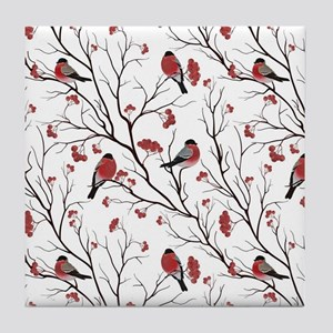 Winter Birds White Tile Coaster