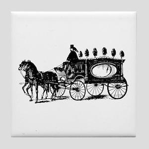 Black Victorian Hearse Tile Coaster