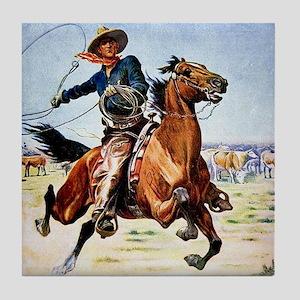 cowboy art Tile Coaster