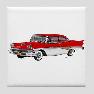 1958 Ford Fairlane 500 Red & White Tile Coaster