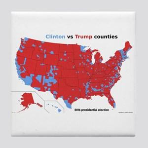 Trump vs Clinton Map Tile Coaster