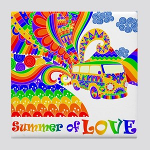 Retro Rainbow Hippie Van Tile Coaster