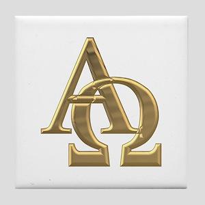 """""""3-D"""" Golden Alpha and Omega Symbol Tile Coaster"""