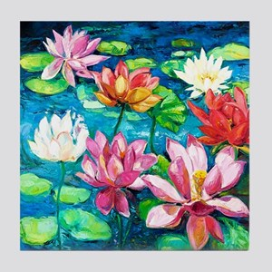 Water Lily Oil Painting Tile Coaster