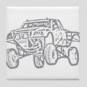 Off-Road Race Truck Grey Tile Coaster