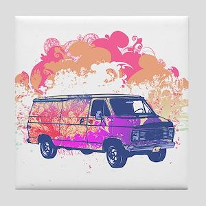 Retro Hippie Van Grunge Style Tile Coaster