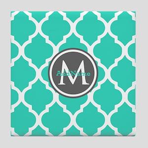 Teal Gray Moroccan Lattice Monogram Tile Coaster