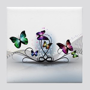 Colorful Butterflies Tile Coaster