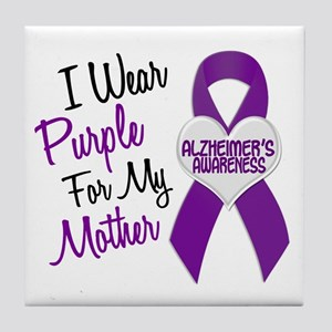 I Wear Purple For My Mother 18 (AD) Tile Coaster