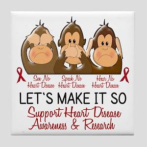 See Speak Hear No Heart Disease Tile Coaster