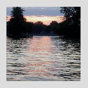 Indian lake Sunset Tile Coaster