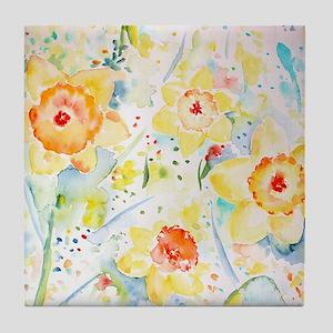 Watercolor Daffodils Pattern Tile Coaster