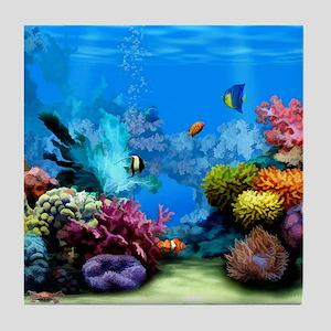 Tropical Fish Aquarium with Bright Co Tile Coaster