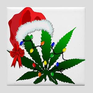 Weed Holiday Tree Tile Coaster