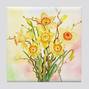 Watercolor Daffodils Yellow Spring Fl Tile Coaster
