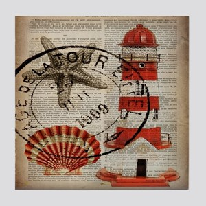 vintage lighthouse sea shells Tile Coaster