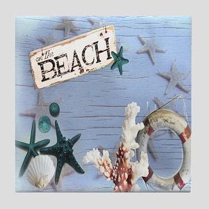 beach coral sea shells  Tile Coaster