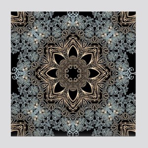 bohemian floral metallic mandala Tile Coaster