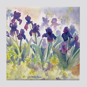 SQ Purp Irises for CP shower curtain Tile Coaster