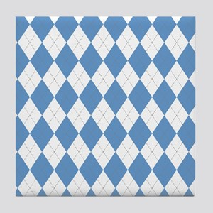 Carolina Blue Argyle Sock Pattern Nor Tile Coaster