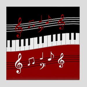 Stylish Piano keys and musical notes Tile Coaster