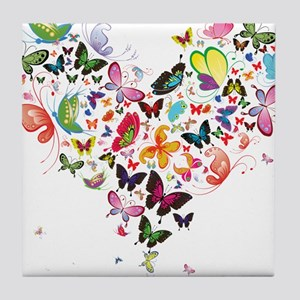 Heart of Butterflies Tile Coaster