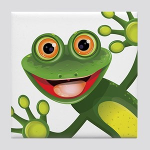Happy Green Frog Tile Coaster