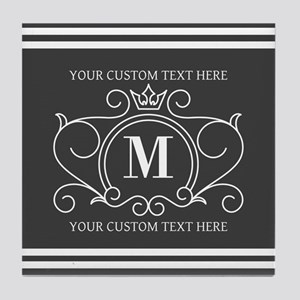 Gray Victorian Stripes Personalized Tile Coaster