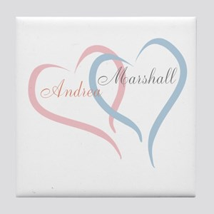 Twin Hearts to Personalize Tile Coaster