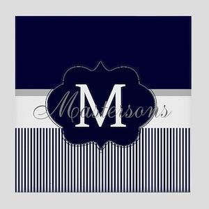 Elegant Monogram in Navy and White Tile Coaster