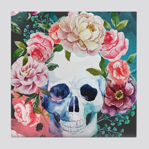 Flowers and Skull Tile Coaster