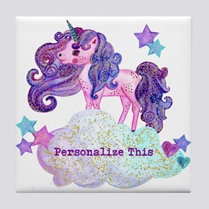Cute Personalized Unicorn Tile Coaster