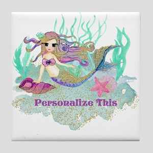 Cute Personalized Mermaid Tile Coaster