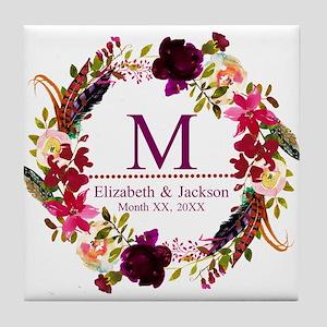Boho Wreath Wedding Monogram Tile Coaster