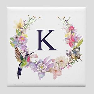 Hummingbird Floral Wreath Monogram Tile Coaster