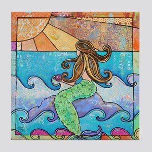 Sunset Mermaid Beach Tile Coaster