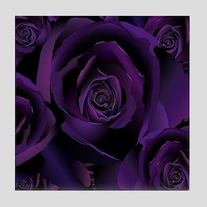 Black Purple Rose Tile Coaster