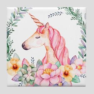 Pink Unicorn Tile Coaster